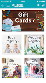 AmazonアプリのGift Cards& Registry画面