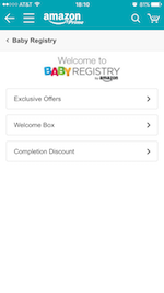 Amazon Baby RegistryのOffer and Benefit画面