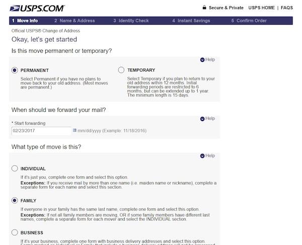 USPSの郵便物の転送申請、転送の設定画面