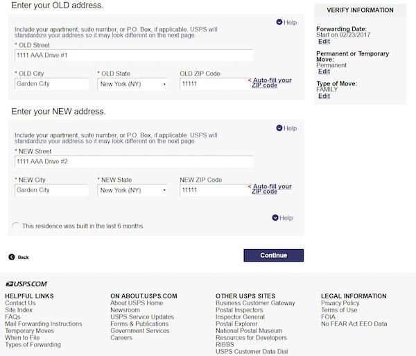 USPSの郵便物の転送申請、住所記入画面