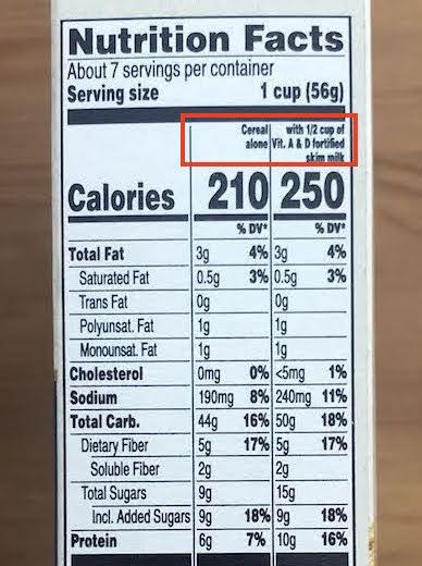 アメリカの食品栄養表示 牛乳ありかなしか