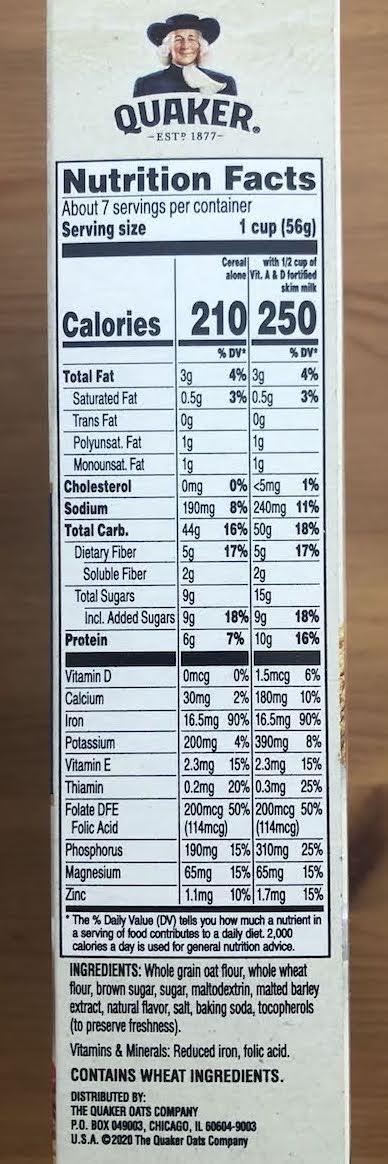アメリカの食品成分ラベル